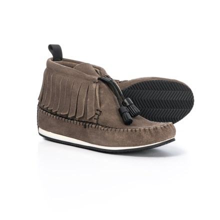 b258e427ecd1 Specially made Fringe Trim Moccasins (For Women) in Taupe Suede
