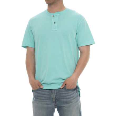 Specially made Garment-Washed Henley Shirt - Short Sleeve (For Men) in Aqua - 2nds