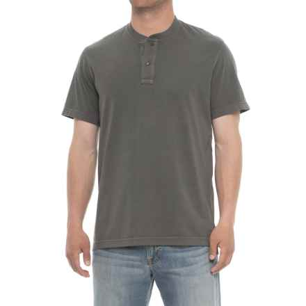 Specially made Garment-Washed Henley Shirt - Short Sleeve (For Men) in Dark Grey - 2nds