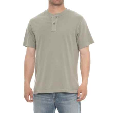 Specially made Garment-Washed Henley Shirt - Short Sleeve (For Men) in Grey - 2nds