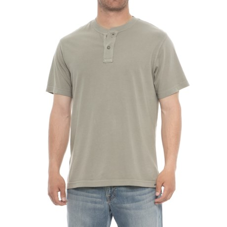 Specially made Garment-Washed Henley Shirt - Short Sleeve (For Men) in Grey