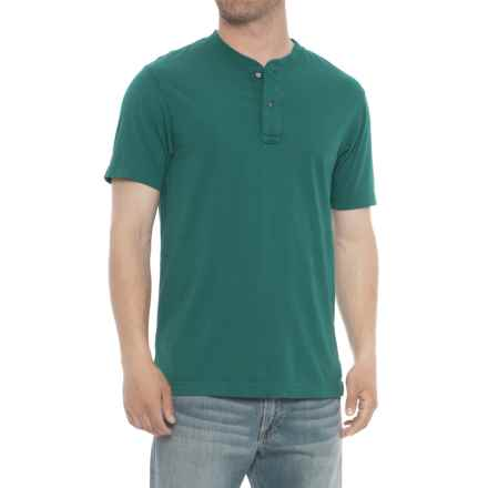 Specially made Garment-Washed Henley Shirt - Short Sleeve (For Men) in Pine Green - 2nds