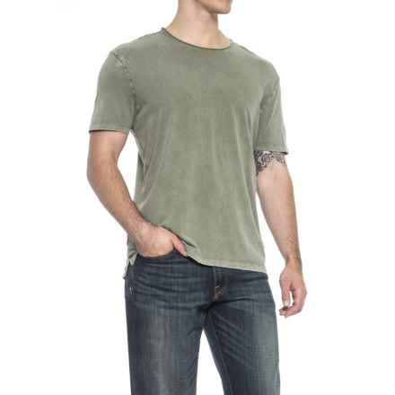 Specially made Garment-Washed T-Shirt - Crew Neck, Short Sleeve (For Men) in Army Green Heahter - 2nds