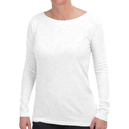 Specially made Heathered Boat Neck Shirt - Long Sleeve (For Women) in White - 2nds