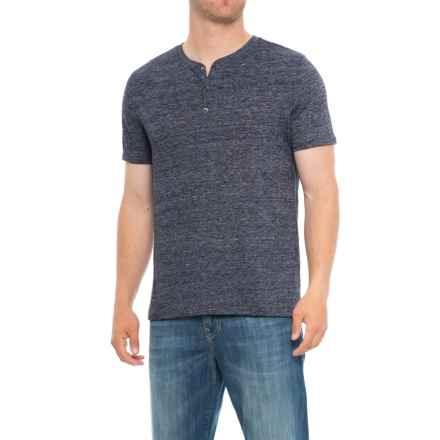 Specially made Heathered Henley Shirt - Short Sleeve (For Tall Men) in Navy - Closeouts