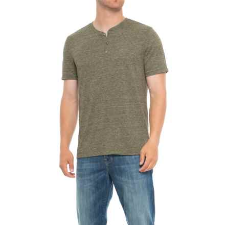Specially made Heathered Henley Shirt - Short Sleeve (For Tall Men) in Olive - Closeouts