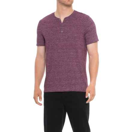 Specially made Heathered Henley Shirt - Short Sleeve (For Tall Men) in Wine - Closeouts