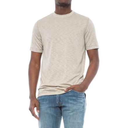 Specially made Heathered Knit Crew Neck Shirt - Short Sleeve (For Men) in Beige - 2nds
