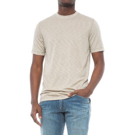 Specially made Heathered Knit Crew Neck Shirt - Short Sleeve (For Men) in Beige