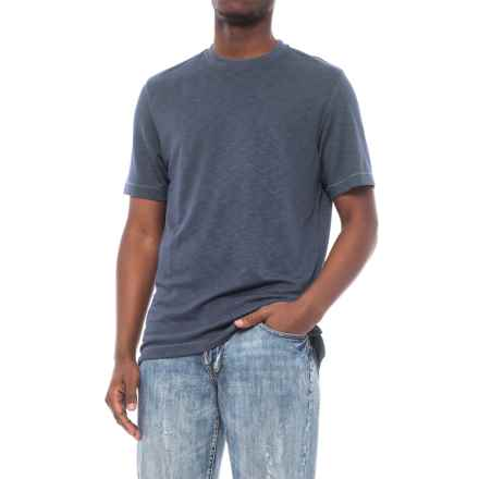 Specially made Heathered Knit Crew Neck Shirt - Short Sleeve (For Men) in Blue - 2nds