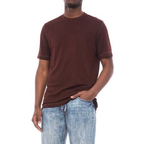 Specially made Heathered Knit Crew Neck Shirt - Short Sleeve (For Men) in Rust