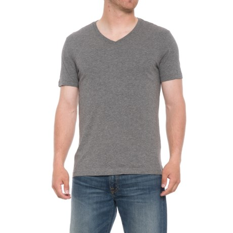 Specially made Heathered T-Shirt - V-Neck, Short Sleeve (For Men) in Grey