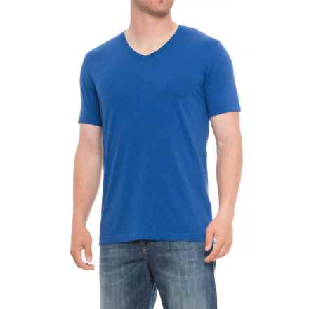 Specially made Heathered V-Neck Shirt - Short Sleeve (For Tall Men) in Blue - Closeouts