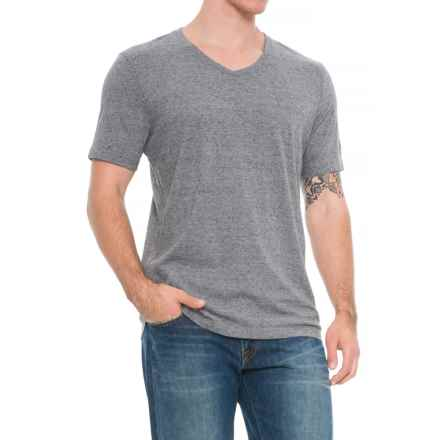 Specially made Heathered V-Neck Shirt - Short Sleeve (For Tall Men) in Grey - Closeouts