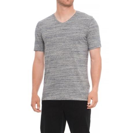 Specially made Heathered V-Neck Shirt - Short Sleeve (For Tall Men) in Light Grey