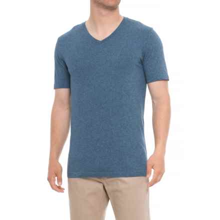 Specially made Heathered V-Neck Shirt - Short Sleeve (For Tall Men) in Medium Blue - Closeouts