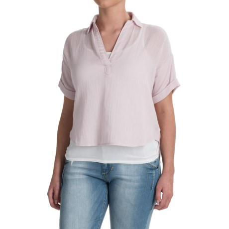 Specially made High-Low Gauze Crop Shirt - Short Sleeve (For Women) in Pink