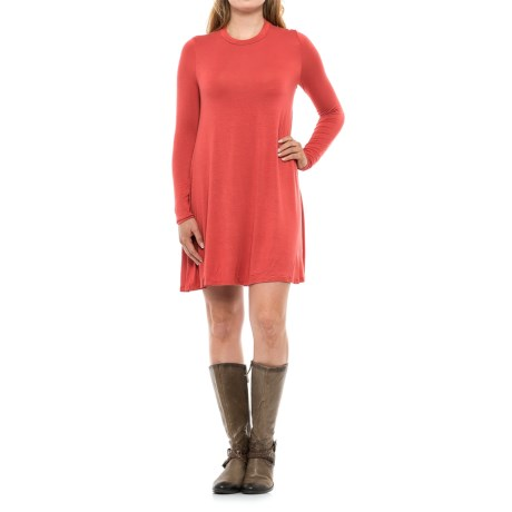 Specially made High Neck Dress - Rayon, Long Sleeve (For Women) in Orange