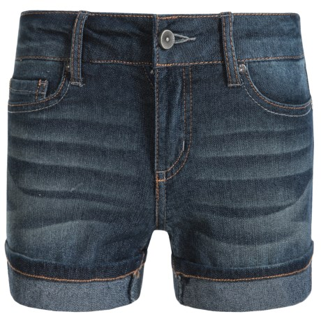 Specially made Hipster Cuffed Shorts (For Little Girls) in Dark Wash