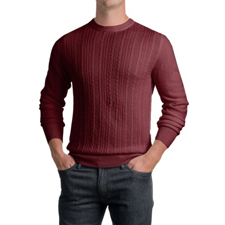 Specially made Jacquard Crew Neck Sweater - Long Sleeve (For Men) in Mulberry