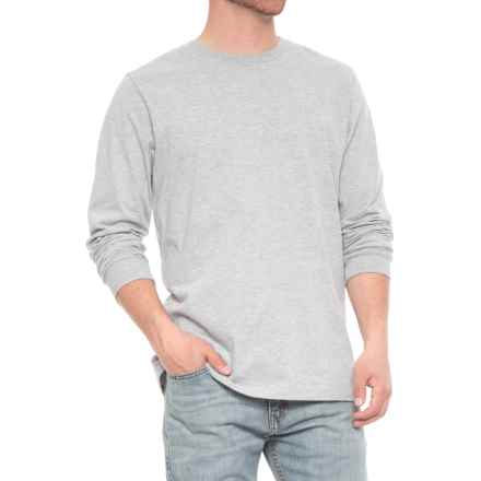 Specially made Jersey Crew T-Shirt - Long Sleeve (For Men) in Light Grey Heather - Closeouts