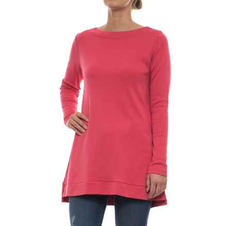 Specially made Knit Tunic Shirt - Pima Cotton, Long Sleeve (For Women) in Rose Pink - 2nds