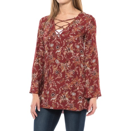 Specially made Lace-Up Printed Woven Tunic Shirt - Rayon, Long Sleeve (For Women) in Rust