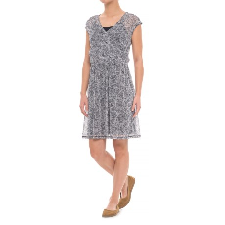 Specially made Layered Print Dress - Short Sleeve (For Women) in White Print