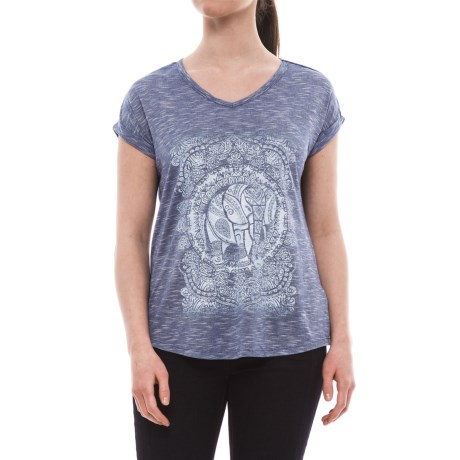 Specially made Mosaic V-Neck Shirt - Short Sleeve (For Women) in Blue Stripe