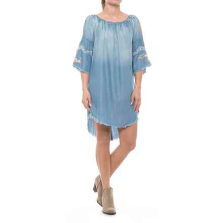 Specially made Off-the-Shoulder Chambray Dress - Elbow Sleeve (For Women) in Blue - Closeouts