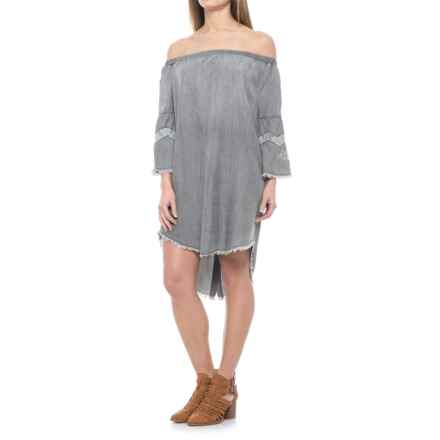 Specially made Off-the-Shoulder Chambray Dress - Elbow Sleeve (For Women) in Grey - Closeouts