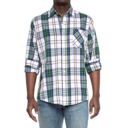 Specially made Patterned Button-Up Shirt - Long Sleeve (For Men) in Green/White/Blue Pla Id - Closeouts