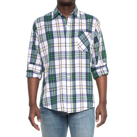 Specially made Patterned Button-Up Shirt - Long Sleeve (For Men) in Green/White/Blue Pla Id