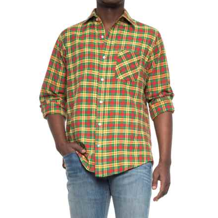 Specially made Patterned Button-Up Shirt - Long Sleeve (For Men) in Yellow/Green/Red Plaid - Closeouts