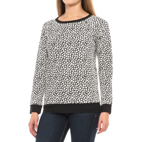 Specially made Pebble Print Stretch-Knit Shirt - Long Sleeve (For Women) in Black/White