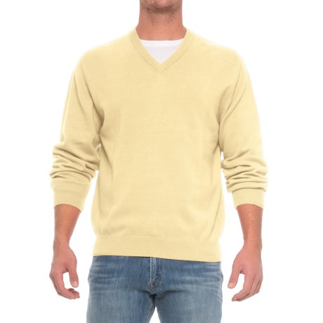 Specially made Pima Cotton V-Neck Sweater (For Men) in Primrose