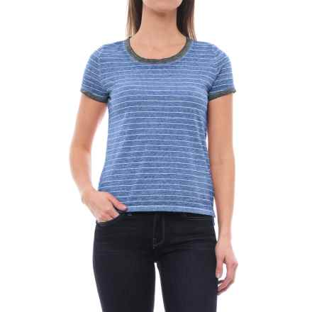 Specially made Pinstripe Knit Shirt - Short Sleeve (For Women) in Blue Stripe - 2nds