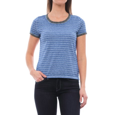 Specially made Pinstripe Knit Shirt - Short Sleeve (For Women) in Blue Stripe
