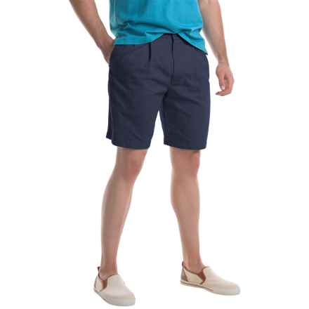 Specially made Pleated Twill Shorts (For Men) in Navy - Closeouts