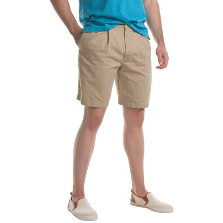 Specially made Pleated Twill Shorts (For Men) in Sand