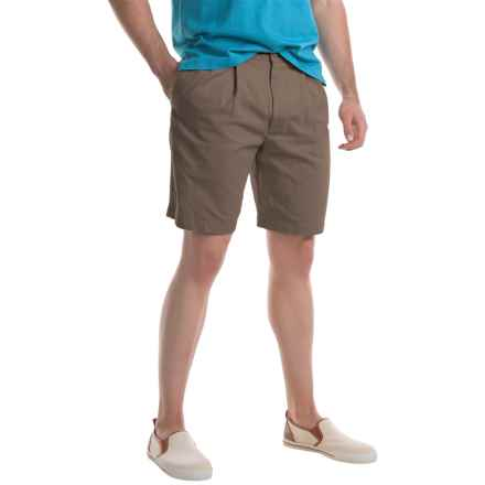 Specially made Pleated Twill Shorts (For Men) in Taupe - Closeouts