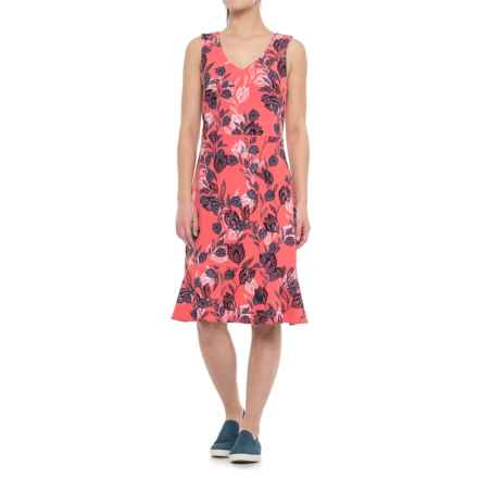 Specially made Printed A-Line Dress - Sleeveless (For Women) in Pink Print - 2nds