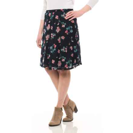 Specially made Printed Chiffon Skirt - Fully Lined (For Women) in Navy Flower - 2nds