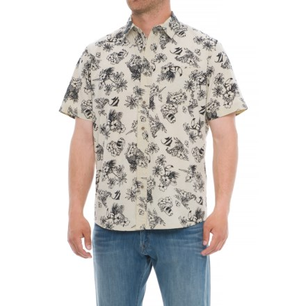 ecf1c76bf5d Specially made Printed Cotton Shirt - Short Sleeve in Fish Black White -  Overstock