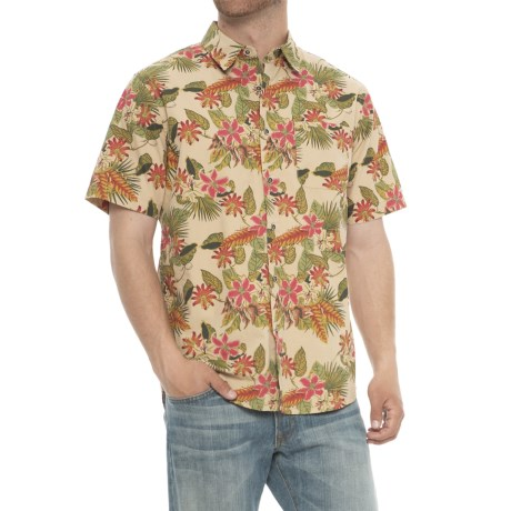 Specially made Printed Cotton Shirt - Short Sleeve in Floral Print/Khaki