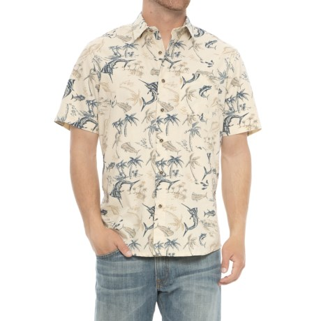 Specially made Printed Cotton Shirt - Short Sleeve in Swordfish Print/Natural
