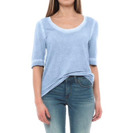 Specially made Raw-Edge Distressed Shirt - Elbow Sleeve (For Women) in Coral Blue