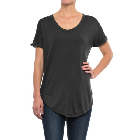 Specially made Rayon Jersey Shirt - Short Sleeve (For Women) in Black