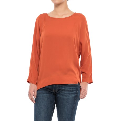 Specially made Rayon Twill Shirt - Long Sleeve (For Women) in Dark Orange