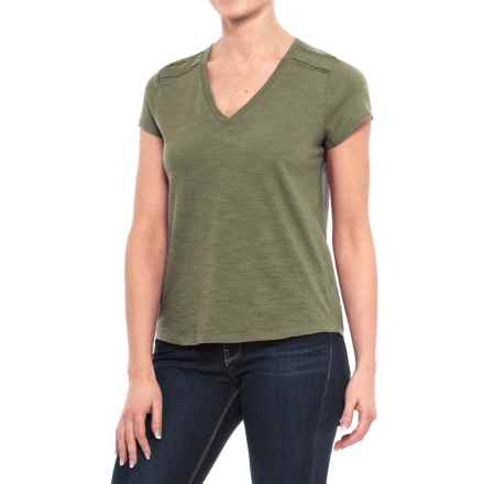 Specially made Ricrac Trim V-Neck Shirt - Short Sleeve (For Women) in Green - 2nds